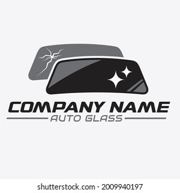 illustration of cracked car windshield and new glass, logo template for auto glass service.