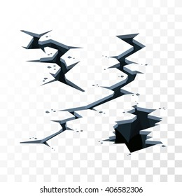 Illustration of cracks in the ground for imposing on any background, the effects of earthquake or other disaster, color vector cracks elements for backgrounds, cartoon cracks with stones, long crack