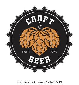 Illustration of craft beer bottle cap with hops for pub, bar, brewery, restaurant. Vector emblem, label, logo, stamp, badge.