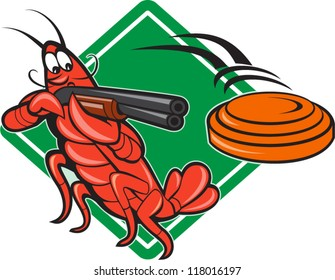 Illustration of a crayfish lobster skeet target shooting using shotgun rifle aiming at flying clay disk with diamond shape in background done in cartoon style.