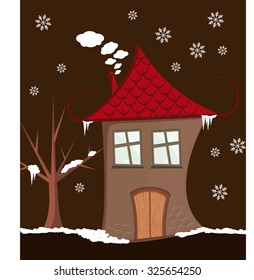 Illustration Of Crazy House In Winter Vector