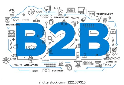 illustration of creative banner, digital marketing b2b business to business asset for presentation or cover pictogram, abstract thin line icon. use for background and annual report cover.