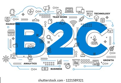 illustration of creative banner, digital marketing b2c business to consumer asset for presentation or cover pictogram, abstract thin line icon. use for background and annual report cover.