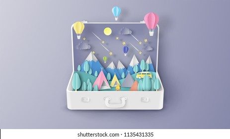 Illustration of creative design Camping in the forest inside suitcase. Family Adventure Camping. Graphic design for Camping in summer. paper cut and craft style. vector, illustration.