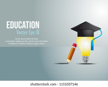 illustration of creative education with book symbols, hats, bulbs