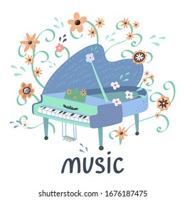 Illustration with Creative piano and hand lettering. Great element for music festival or t-shirt. Vector concept