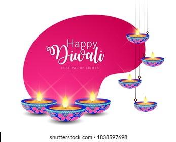 Illustration of Creative poster for Shubh Diwali or Shubh Deepawali with creative design Diwali celebration.
