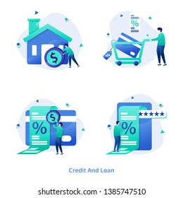 Illustration Credit And Loan vol 1 modern concept for Home Loan, Consumer Credit,  Percentage Rate, Credit Card can be used for onboarding mobile apps, web landing pages, banners, posters. vector-illu
