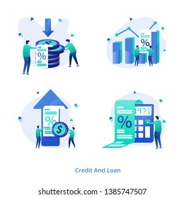 Illustration Credit And Loan vol 2 modern concept for Increase Rate, Decrease Rate, Calculate Rate, Mortgage Graph, can be used for onboarding mobile apps, web landing pages, banners, posters. vector-
