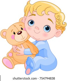 Illustration of creepy baby holds Teddy bear