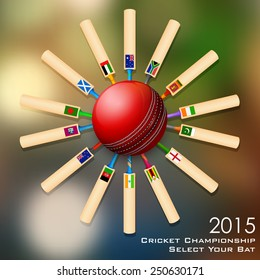 illustration of cricket bat of different participating countries