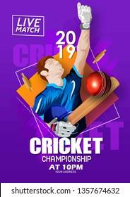 illustration of Cricket Championship poster or banner design with batsman on stadium