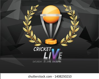 illustration of cricket live with world cup trophy - Vector