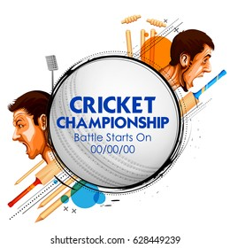 illustration of cricket player of different participating countries showing revenge and VS versus text