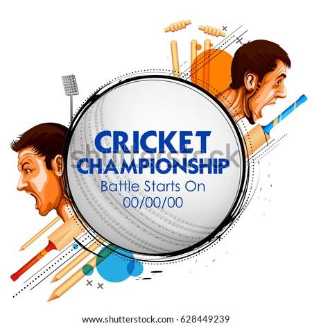 illustration of cricket player