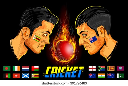 illustration of cricket players of different participating countries of cricket championship