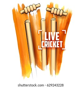 illustration of Cricket stumps and blowing bail on abstract background