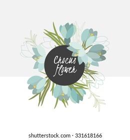 illustration crocus flower spring greeting card summer composition garden beautiful delicate