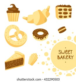 Illustration with croissant, pretzel, muffin, madeleine, macaroons, piece of cake, donut