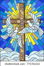 Illustration with a cross and a pair of white doves in the stained glass style