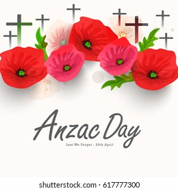 illustration Of Cross With Poppy Flower For Anzac Day Background.