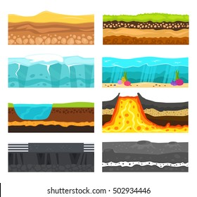 Illustration of cross section of ground with grass isolated on white. Volcano, water ocean or sea, green grass with ground and stones slices