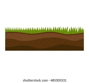 Illustration of cross section ground slice isolated on white background