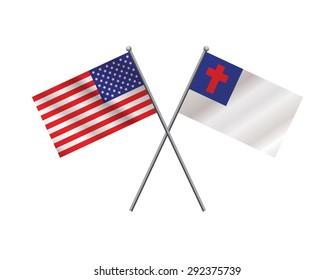 An illustration of crossed American flag and Christian faith flag on metal flagpoles. Vector EPS 10.