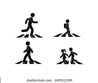 illustration of a crosswalk, the pedestrian is on the zebra, stick figure man icon, children run across the road, set of isolated icons