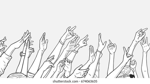 Illustration of crowd cheering with raised hands at music festival