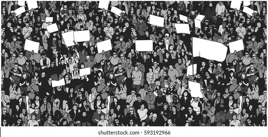 Illustration of crowd demonstrating for human rights from high angle view in grey scale