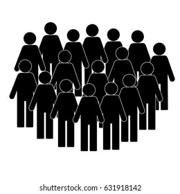 Illustration of crowd of people - icon silhouettes vector. Social icon. Modern design flat style icon, stick figure, a lot of people together