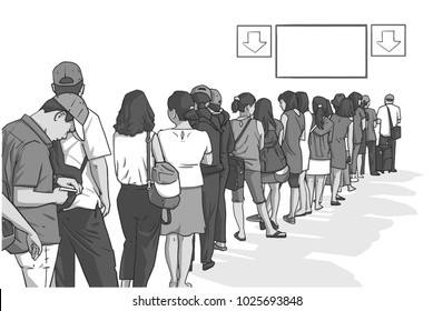 Illustration of crowd of people standing in line in perspective with blank signs in black and white