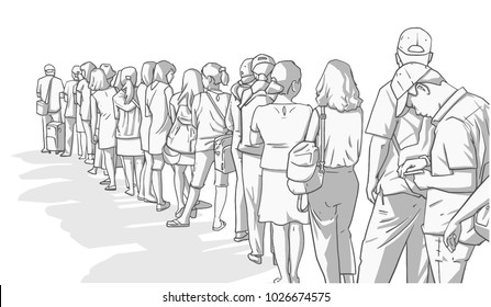 Illustration of crowd of people standing in line in perspective in black and white