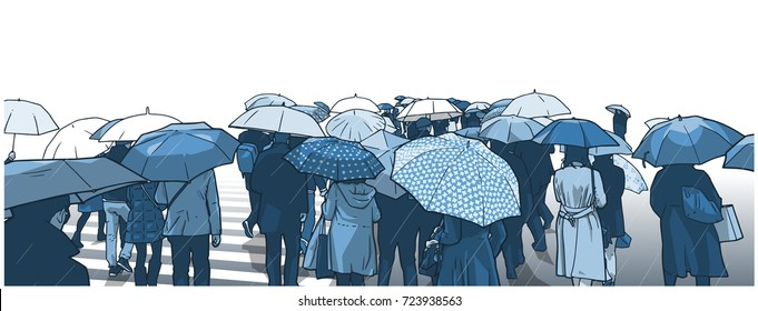 Illustration of crowd of people waiting at street crossing in the rain with rain coats and umbrellas in blue tones