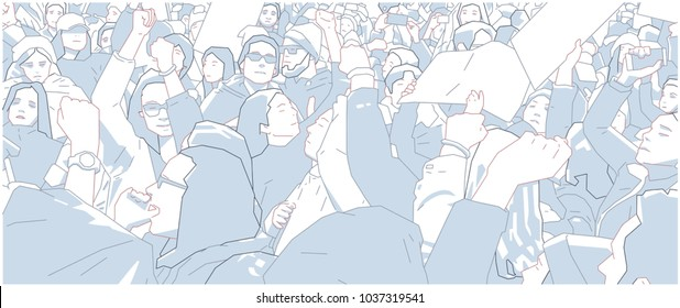 Illustration of crowd protest, demonstration in color
