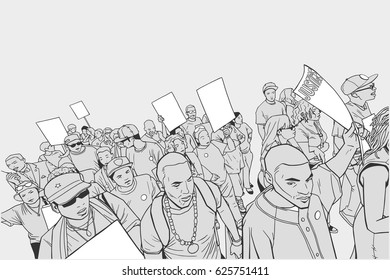 Illustration of crowd protesting against police brutality, with blank signs.
