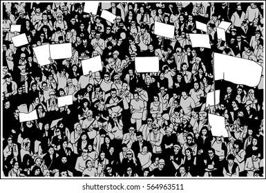 Illustration of crowd protesting for basic human rights with blank signs and flag in three tones: black, white, grey