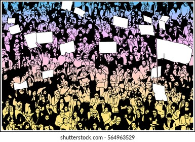 Illustration of crowd protesting for basic human rights with blank signs and flag in color and black and white