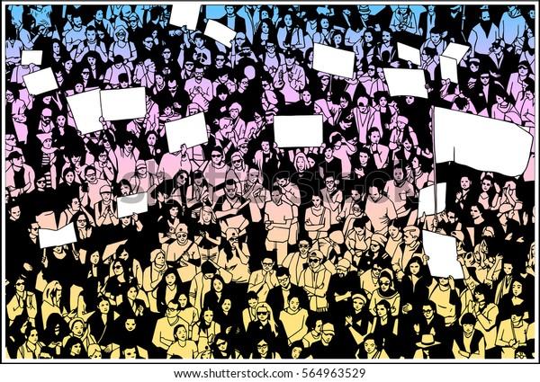 Illustration von Menschenmengen, die für grundlegende Menschenrechte protestieren, mit leeren Zeichen und Flaggen in Farbe sowie Schwarz-Weiß