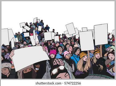 Illustration of crowd protesting for human rights with blank signs in perspective and color