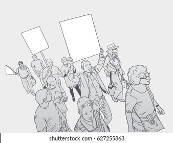 Illustration of crowd protesting for human rights, with blank signs and flag.