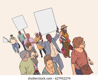 Illustration of crowd protesting for human rights in color with blank signs and flag.