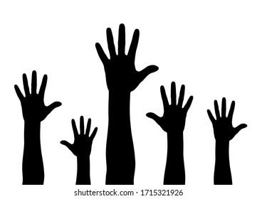 Illustration of a crowd raising hands