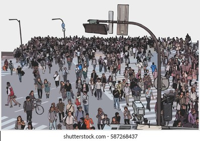 Illustration of crowded city street crossing from high angle view in color