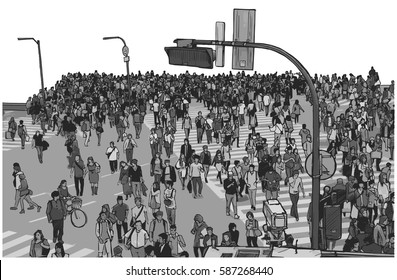 Illustration of crowded city street crossing from high angle view in grey scale