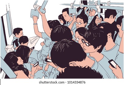 Illustration of crowded metro, subway cart in rush hour in color