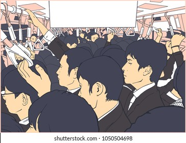 Illustration of crowded metro, subway cart in rush hour salary men