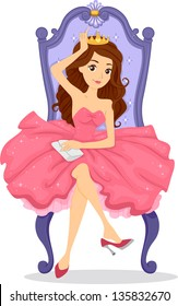Illustration of a Crowned Prom Queen Sitting on her Throne