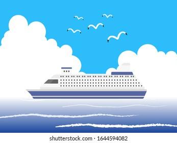Illustration of a cruise ship.